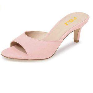 FSJ Pink Low Heel Mules Peep Toe Sandals